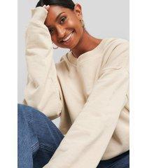 na-kd basic oversized crewneck sweatshirt - beige