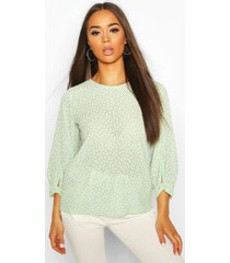 polka dot bow sleeve woven blouse, sage