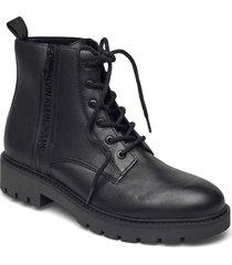 mid boot laceup zip lth snörade stövlar svart calvin klein