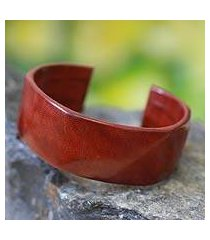 leather cuff bracelet, 'african brown' (ghana)