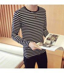camiseta de manga larga con rayas para hombres-negro
