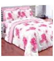 edredom floral completo 7 peças com lençol 100% algodão percal 150 fios