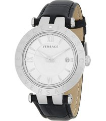 versace men's v-race silver dial leather watch - grey