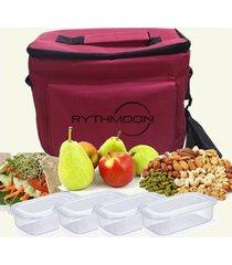 kit bolsa térmica tipo keeppack pink + 4 refeições rythmoon