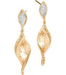 'classic chain' diamond 18k yellow gold drop earrings