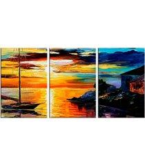 conjunto de telas decorativas barco a vela grande love decor