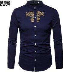 manica lunga da ricamo con ricamo a collo alto henry court style sottile fit business camicia