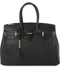 tuscany leather tl141529 tl bag - borsa a mano media con accessori oro nero