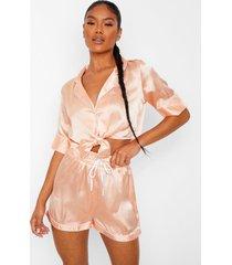 korten satijnen pyjama set met strik, blush