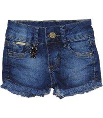 bermuda jeans garota lua shorts manabana menina azul - azul - menina - dafiti