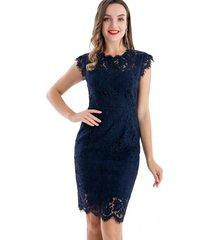 vestido ajustado encaje azul nicopoly