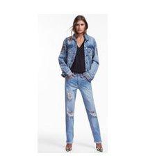 jaqueta laser animale jeans medio