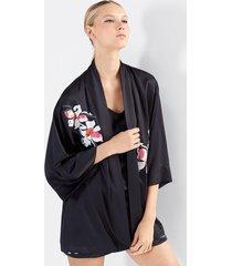 natori cattleya embroidery shorts pajamas, women's, black, size s natori