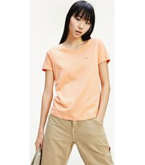 camiseta de algodón orgánico y corte slim naranja tommy jeans