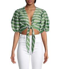 lisa marie fernandez women's striped front-tie cropped blouse - green - size s