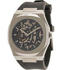 d1 milano skeleton rubber 41.5mm watch - silver