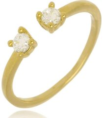 anel falange pontinhos de luz di capri semi jóias x ouro dourado - kanui