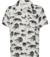 ivar print shirt kortärmad skjorta grå modström