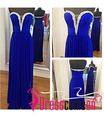 new royal blue prom dress with sweetheart chiffon long party dress evening gown