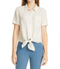 women's theory linen tie front shirt, size petite - ivory