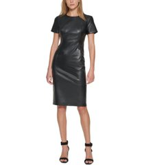 calvin klein faux leather sheath dress