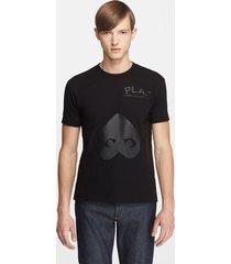 men's comme des garcons play inverted heart print t-shirt, size large - black