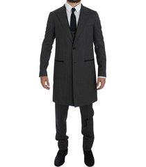 wool stretch 3 piece long blazer suit