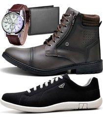 2 pares bota coturno adventure e sapatênis casual com carteira e relógio zaru 560-900mr preto