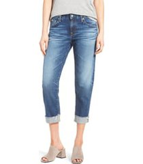 women's ag the ex boyfriend crop jeans, size 33 - blue