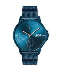 relógio hugo boss masculino aço azul - 1530126