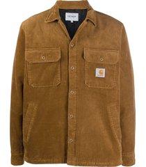 carhartt wip corduroy logo patch shirt - hz00 hamilton brown