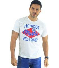 camiseta hombre manga corta slim fit blanco marfil hotrods