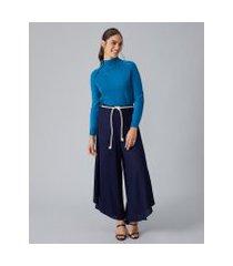 amaro feminino pantalona cinto corda, azul marinho