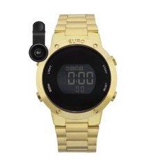 kit de relógio feminino euro digital - eubj3279aak4d + lentes dourado