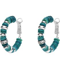 orecchini a cerchio in ottone rodiato con elementi in conchiglia acqua marina e strass per donna