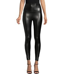 high-waist faux leather leggings