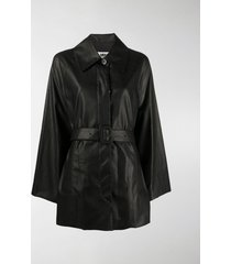 mm6 maison margiela belted faux leather coat