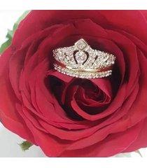 anillo reina isabel corona en plata y oro.
