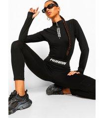 woman legging met tekst op elastische band, black