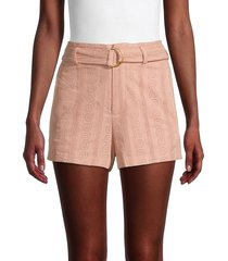 a.l.c. women's conley belted eyelet shorts - nude - size 0