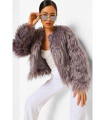 pluizige faux fur jas, grijs