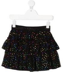 alberta ferretti kids tiered star-print tulle skirt - black