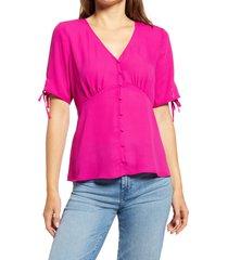 women's vince camuto front button blouse, size xx-small - purple