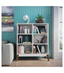 estante baixa para livros genialflex retrô 6 prateleiras branca