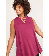 lane bryant women's livi active tank - strappy front 26/28 beet red