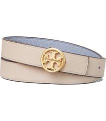 women's tory burch reversible leather belt, size large - cloud blue / longan / gold