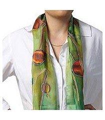 hand painted silk batik scarf, 'precious pomegranate in green' (armenia)