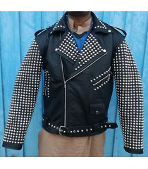 new men's black full silver studded on sleeves leather coat jacket