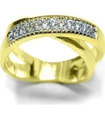 anel kumbayá  x trançado semijoia banho de ouro 18k cravação de zircônias detalhe em ródio - kanui