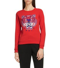 women's kenzo classic tiger embroidered slim sweatshirt, size x-small - red